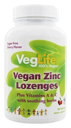 DROPPED: VegLife - Zinc Lozenges 100% Vegan Cherry - 50 Lozenges