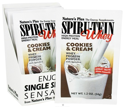 DROPPED: Nature's Plus - Spiru-Tein WHEY High Protein Energy Meal Cookies & Cream - 1 Packet CLEARANCE PRICED