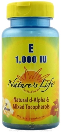 DROPPED: Nature's Life - Vitamin E 1000 IU - 50 Softgels CLEARANCE PRICED