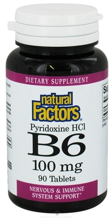 DROPPED: Natural Factors - Vitamin B6 Pyridoxine HCl 100 mg. - 90 Tablets