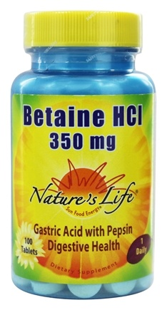 Nature's Life - Betaine HCL 350 mg. - 100 Tablets