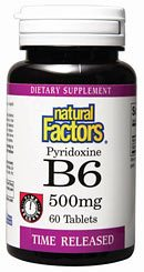 DROPPED: Natural Factors - Vitamin B6 Pyridoxine HCL Time Release - 60 Tablets
