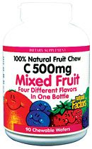 DROPPED: Natural Factors - Natural Fruit Vit. C Jungle Juice 500 mg. - 90 Chewable Wafers