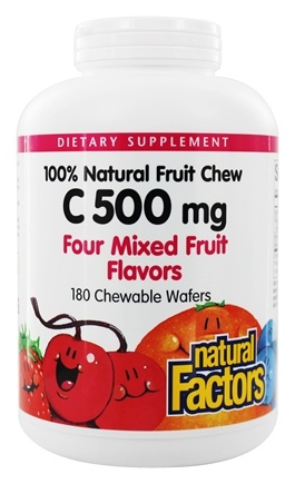 DROPPED: Natural Factors - 100% Natural Fruit Chew C Mixed Fruit Flavor 500 mg. - 180 Chewable Wafers