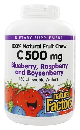 DROPPED: Natural Factors - 100% Natural Fruit Chew C Blue/Rasp/Boynsenberry 500 mg. - 180 Chewable Wafers