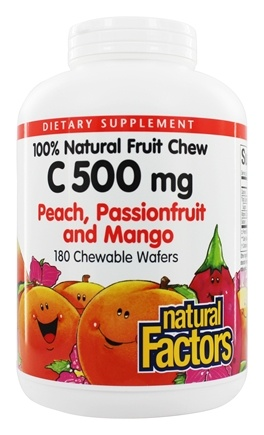 DROPPED: Natural Factors - 100% Natural Fruit Chew C Peach/Passionfruit/Mango 500 mg. - 180 Chewable Wafers