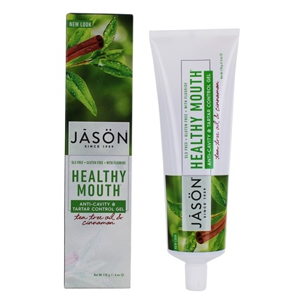 JASON Natural Products - Tooth Gel Healthy Mouth All Natural Tartar Control Anti-Cavity CoQ10 with Fluoride Tea Tree Oil & Cinnamon - 6 oz.