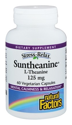 Natural Factors - Stress-Relax Suntheanine L-Theanine 125 mg. - 60 Vegetarian Capsules Formerly L-Theanine