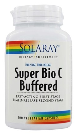 Solaray - Super Bio C Buffered Two-Stage Timed-Release - 100 Vegetarian Capsules