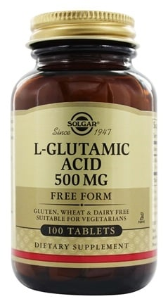 DROPPED: Solgar - L-Glutamic Acid Free Form 500 mg. - 100 Tablets