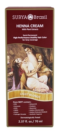 Zoom View - Henna Brasil Cream Hair Coloring with Organic Extracts Light Blonde