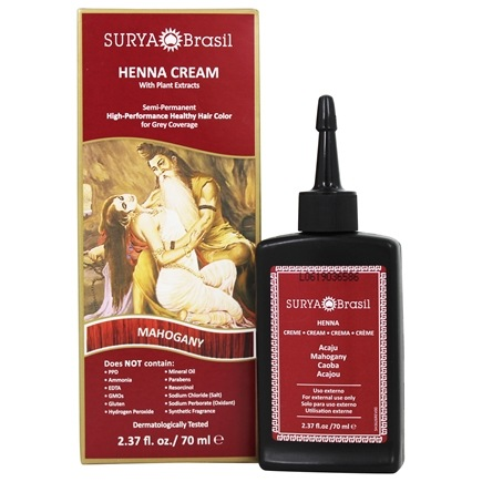 Zoom View - Henna Brasil Cream Hair Coloring with Organic Extracts Mahogany