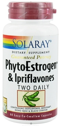 DROPPED: Solaray - Guaranteed Potency PhytoEstrogen & Ipriflavones Two Daily - 60 Vegetarian Capsules CLEARANCE PRICED