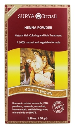 Surya Brasil - Henna Powder Natural Hair Coloring Golden Brown - 1.76 oz.