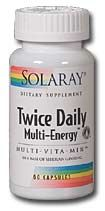 DROPPED: Solaray - Twice Daily Multi Energy - 60 Capsules