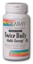 DROPPED: Solaray - Twice Daily Multi Energy Iron-Free - 60 Capsules