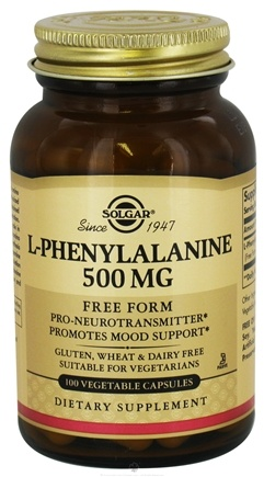 DROPPED: Solgar - L-Phenylalanine Free Form 500 mg. - 100 Vegetarian Capsules CLEARANCE PRICED
