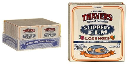 DROPPED: Thayers - Slippery Elm Lozenges Tangerine Rosehips - 24 Lozenges