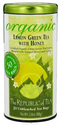 DROPPED: The Republic of Tea - Organic USDA Honey Lemon Green Tea - 50 Tea Bags CLEARANCE PRICED