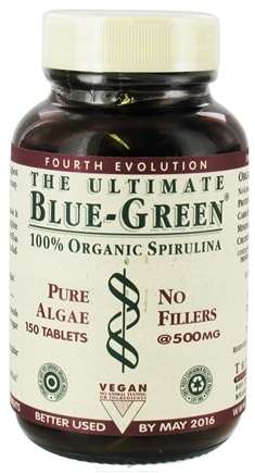 DROPPED: The Ultimate Life - The Ultimate Blue-Green - 100% Organic Spirulina (Pure Algae, No Fillers) 500 mg. - 150 Tablets