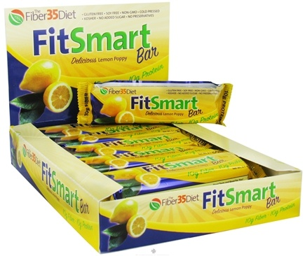 DROPPED: Fiber 35 Diet - FitSmart Protein Bar Delicious Lemon Poppy - 2.1 oz.