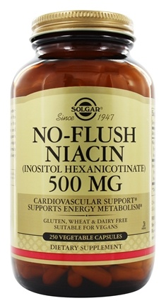 Solgar - No-Flush Niacin 500 mg. - 250 Vegetarian Capsules