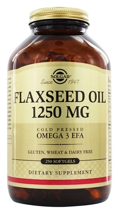 Solgar - Flaxseed Oil Cold Pressed Omega 3 EFA 1250 mg. - 250 Softgels