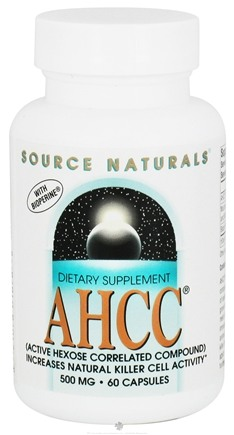DROPPED: Source Naturals - AHCC Active Hexose Correlated Compound with Bioperine 500 mg. - 60 Capsules CLEARANCE PRICED