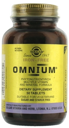 DROPPED: Solgar - Omnium The Advanced Phytonutrient-Rich Multiple Iron Free - 50 Tablets