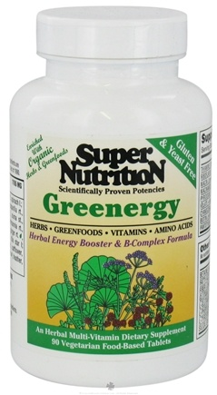 DROPPED: Super Nutrition - Greenergy - 90 Vegetarian Tablets CLEARANCE PRICED