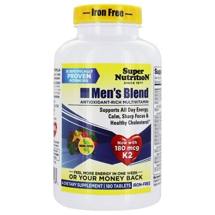 Super Nutrition - Men's Blend MultiVitamin Iron Free - 180 Vegetarian Tablets