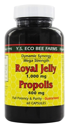 YS Organic Bee Farms - Royal Jelly 1000 mg and Propolis 400 mg - 60 Capsules