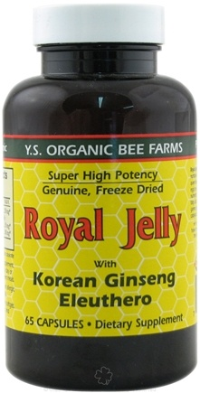 DROPPED: YS Organic Bee Farms - Royal Jelly plus Ginseng & Eleuthero 875 mg. - 65 Capsules CLEARANCE PRICED