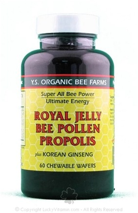 DROPPED: YS Organic Bee Farms - Super All Bee Power Royal Jelly bee Pollen Propolis Chewable Wafers 1050 mg. - 60 Wafers