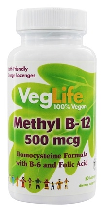 VegLife - Methyl B-12 Lozenge Orange 500 mcg. - 50 Lozenges