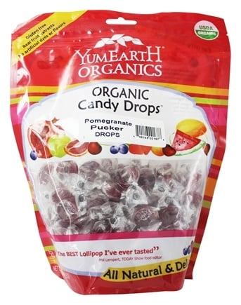 Yum Earth - Organic Candy Drops Gluten Free Pomegranate Pucker Flavor - 13 oz.