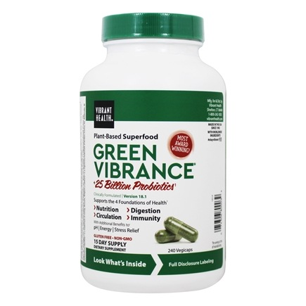 Vibrant Health - Green Vibrance Version 14.0 Daily Superfood - 240 Vegetarian Capsules