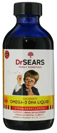 DROPPED: Dr. Sears Family Essentials - Omega-3 DHA Liquid For Kids Strawberry Lemon - 4 oz. CLEARANCE PRICED