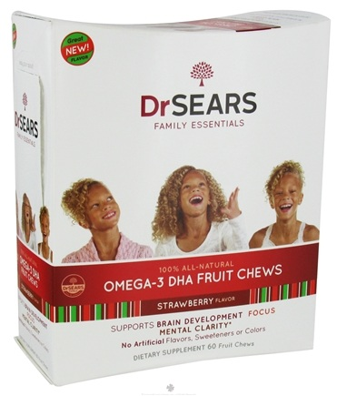 DROPPED: Dr. Sears Family Essentials - Omega-3 DHA Fruit Chews For Kids Strawberry - 60 Chews CLEARANCE PRICED