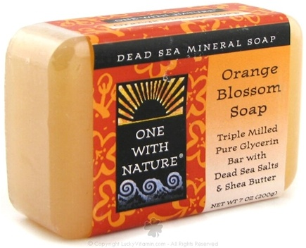DROPPED: One With Nature - Dead Sea Mineral Bar Soap Pure Glycerin Orange Blossom - 7 oz.
