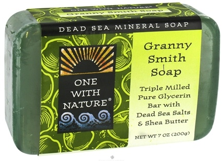 DROPPED: One With Nature - Dead Sea Mineral Bar Soap Pure Glycerin Granny Smith - 7 oz.