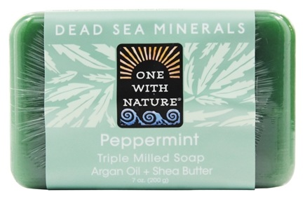 One With Nature - Dead Sea Mineral Bar Soap Exfoliating Hemp Peppermint - 7 oz.
