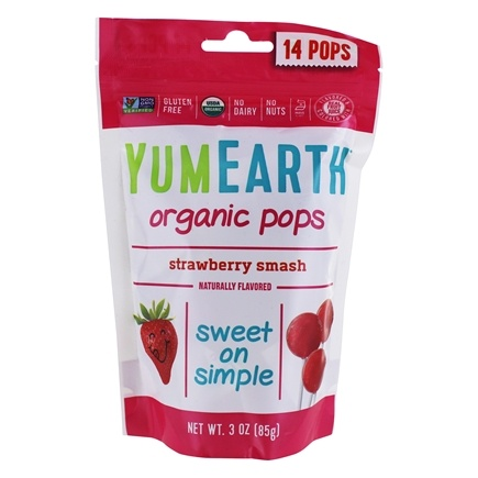 Yum Earth - Organic Lollipops Gluten Free Strawberry Smash - 3 oz. (85g) 15 Lollipops