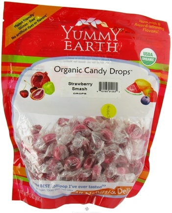 DROPPED: Yummy Earth - Organic Candy Drops Gluten Free Strawberry Smash - 13 oz. CLEARANCE PRICED