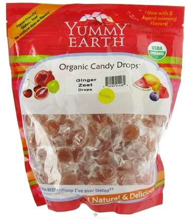 DROPPED: Yummy Earth - Organic Candy Drops Gluten Free Ginger Zest - 13 oz. CLEARANCE PRICED