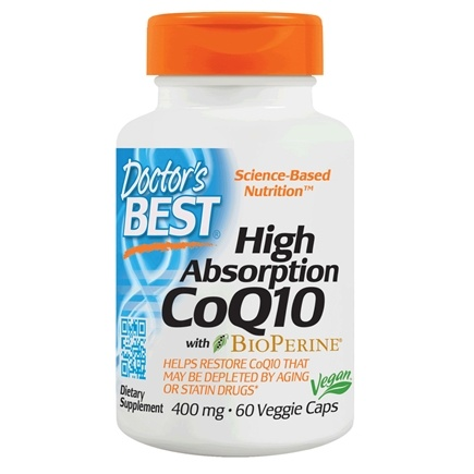 Doctor's Best - High Absorption CoQ10 with BioPerine 400 mg. - 60 Vegetarian Capsules