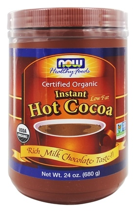 NOW Foods - Instant Hot Cocoa Low Fat Certified Organic Milk Chocolate - 24 oz.