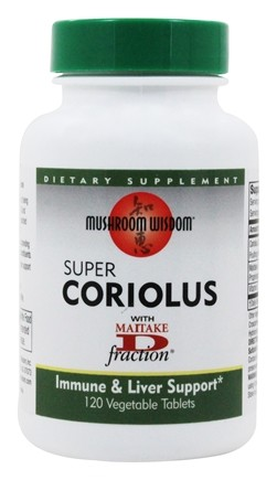 Mushroom Wisdom - Super Coriolus - 120 Vegetarian Tablets Formerly Maitake Products