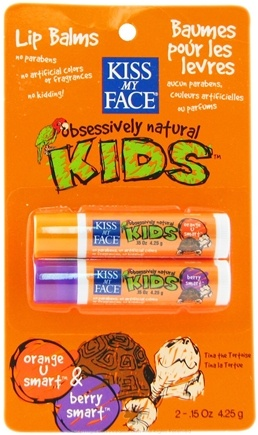 DROPPED: Kiss My Face - Kids Lip Balm Duo Orange U Smart & Berry Smart - 0.15 oz. CLEARANCE PRICED
