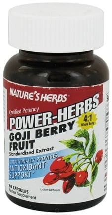 DROPPED: Nature's Herbs - Power-Herbs Goji Berry Fruit Antioxidant Support - 60 Capsules CLEARANCE PRICED